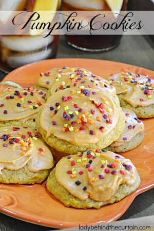 Pumpkin Cookies | A nice moist cookie almost like a bread texture with a wonderful caramel frosting. The perfect way to celebrate fall.