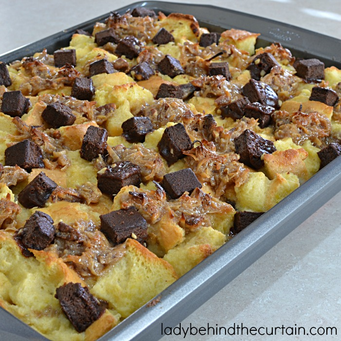 German Chocolate Cake Bread Pudding | A great excuse to have your favorite cake for breakfast! This bread pudding is filled with everything you love about German Chocolate Cake.