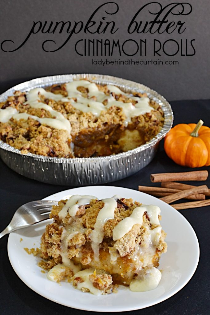 Pumpkin Butter Cinnamon Roll Crumble | These semi homemade cinnamon rolls are just what you need for your next brunch or family breakfast.