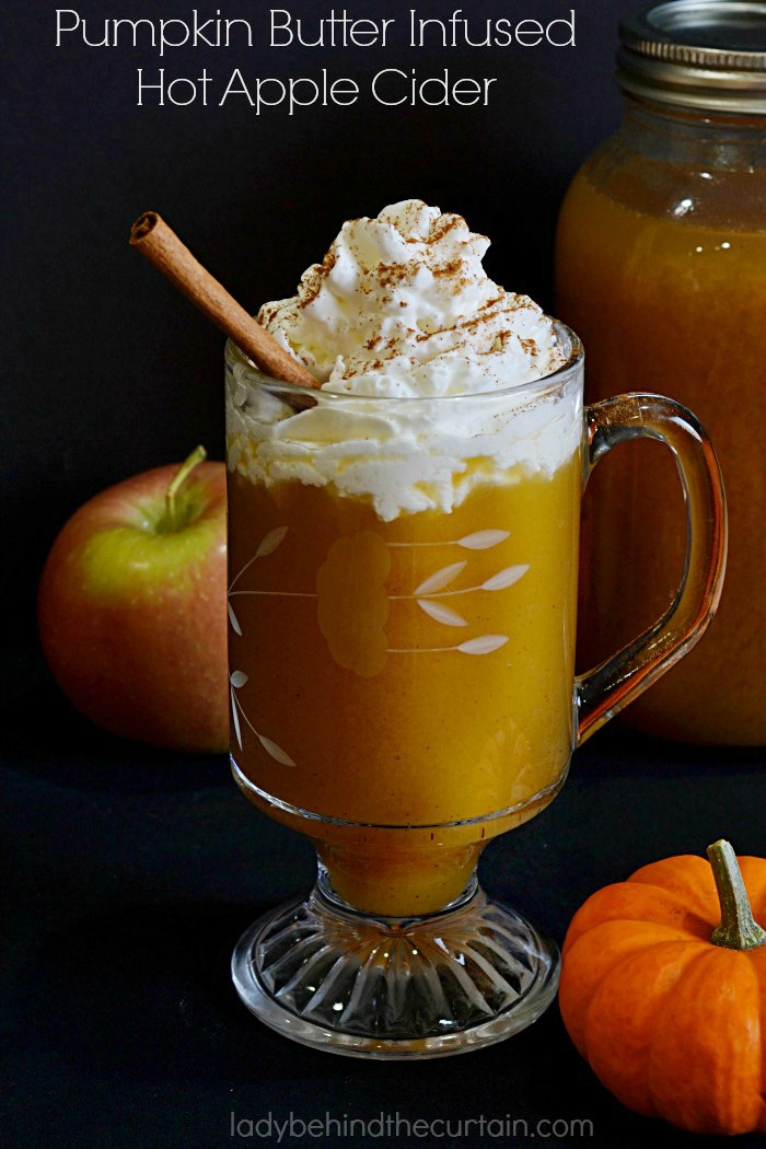 Pumpkin Butter Infused Hot Apple Cider | Take your apple cider up a notch by adding pumpkin butter!