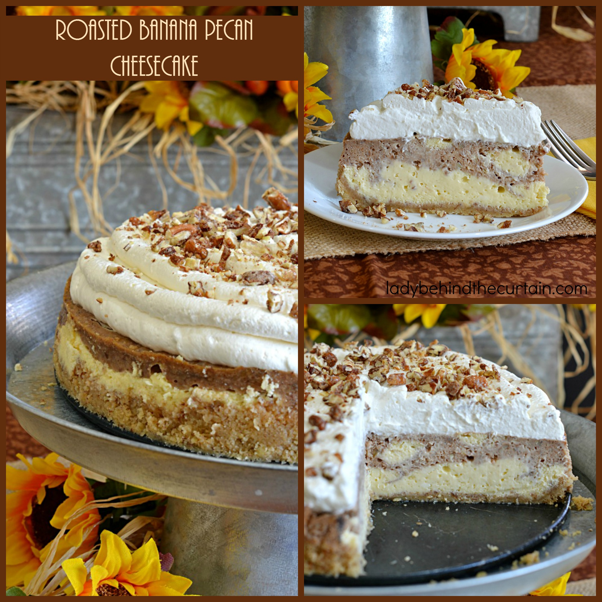 Roasted Banana Pecan Cheesecake | The base of this incredible cheesecake is marbled with mashed roasted bananas and also topped with light and fluffy homemade pecan whipped cream. I'd call that a holiday on a plate!