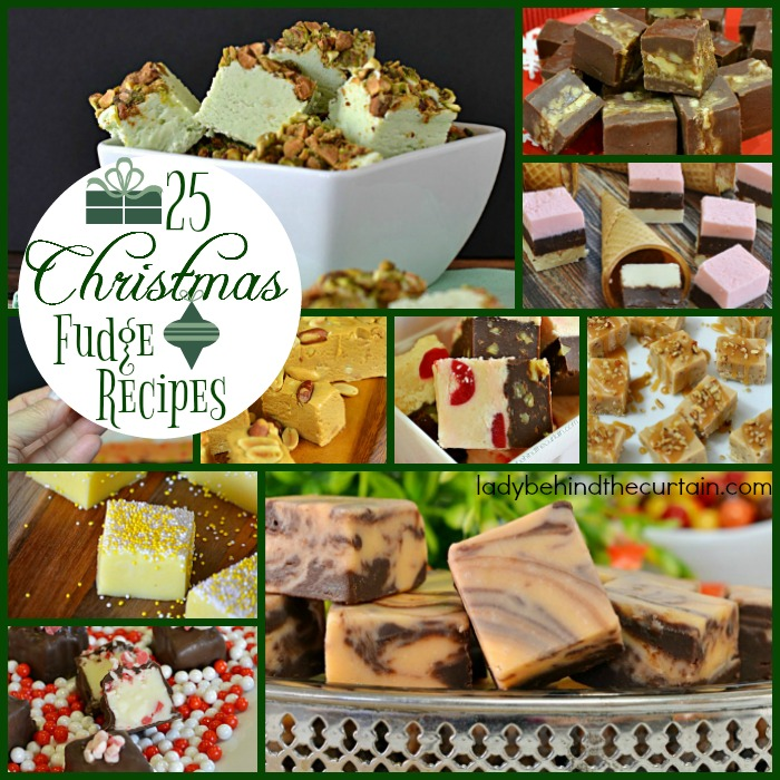 25 Christmas Fudge Recipes   Giving fudge as a gift is a wonderful thing. This simple gesture brings joy to an elderly persons heart, or a little pep to the Mail persons step and cheer to anyone who receives a homemade gift.