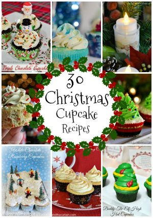 30 Christmas Cupcake Recipes | Watch your guests faces light up as they spy a platter of cupcakes decorated with festive sprinkles cupcake toppers.