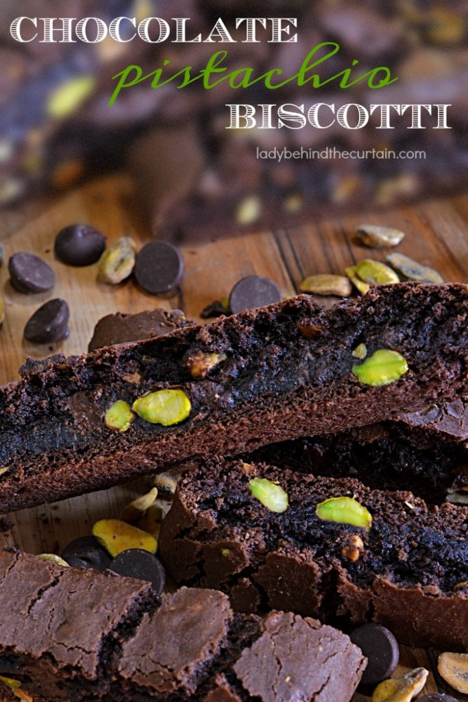 Chocolate Pistachio Biscotti | Softer than traditional biscotti, these are baked for a shorter time but deliver a rich chocolate flavor and are packed with delicious pistachio nuts.