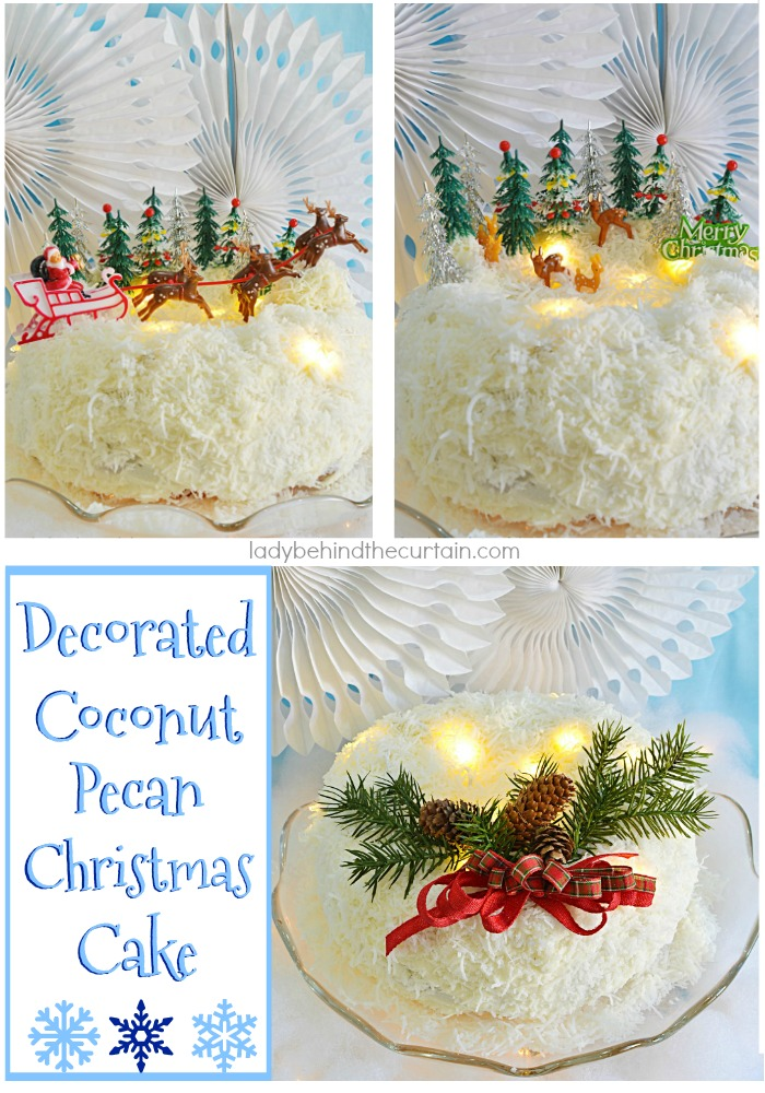 Coconut Pecan Christmas Cake | Wow your guests with a deliciously festive cake at your next Christmas Party! With THREE different looks to choose from!