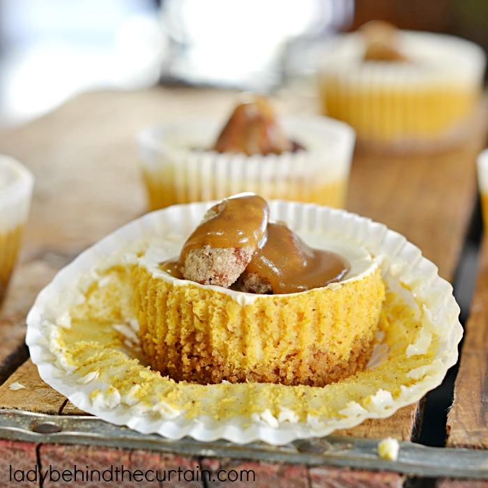Mini Pumpkin Cheesecakes | Little bites of creamy pumpkin flavored ...