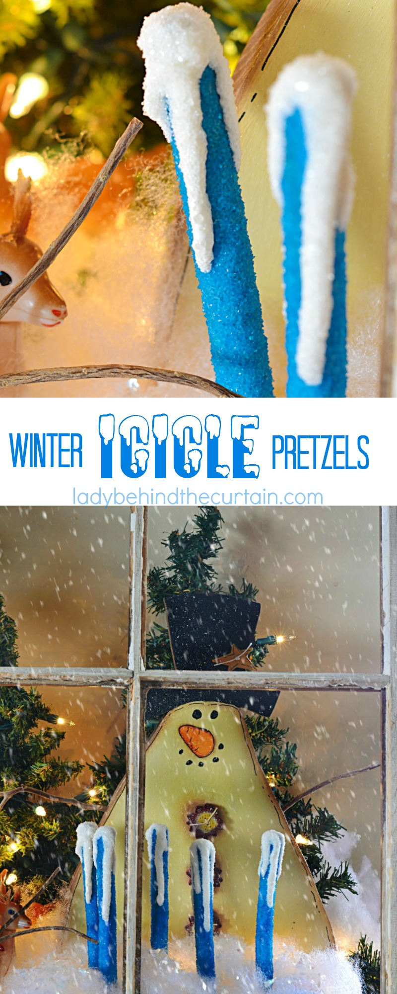 These Winter Icicle Pretzels would be awesome at a Frozen themed party. Display on your party dessert table or wrap up and hand out as party favors.