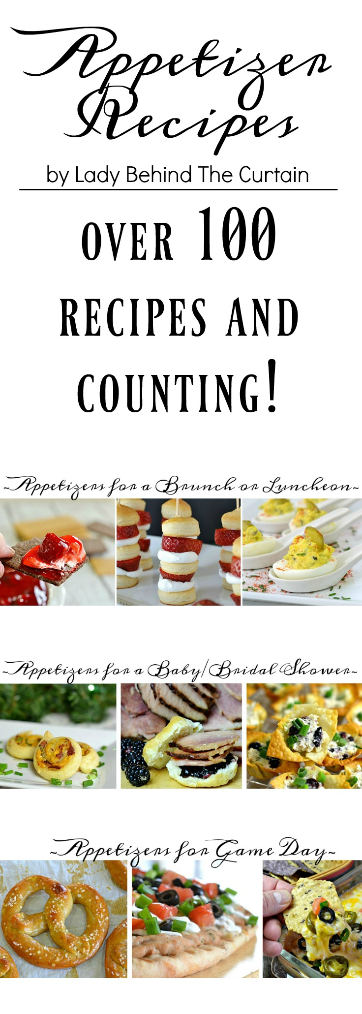 Appetizer Recipes by Lady Behind The Curtain| Apetizers for any occasion! baby shower appetizers, bridal shower appetizers, luncheon appetizers, brunch appetizers, game day appertizers