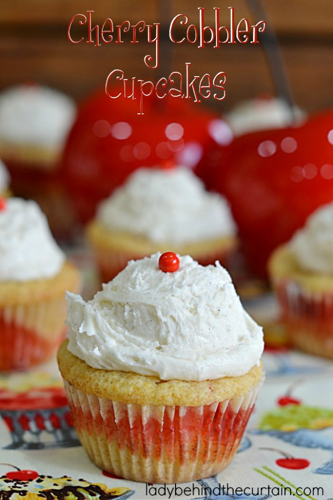 Cherry Cobbler Cupcakes, Summer Barbecue Cupcakes, Cherry Pie, Cherries, Spring Cupcakes, Valentines Day Cupcakes