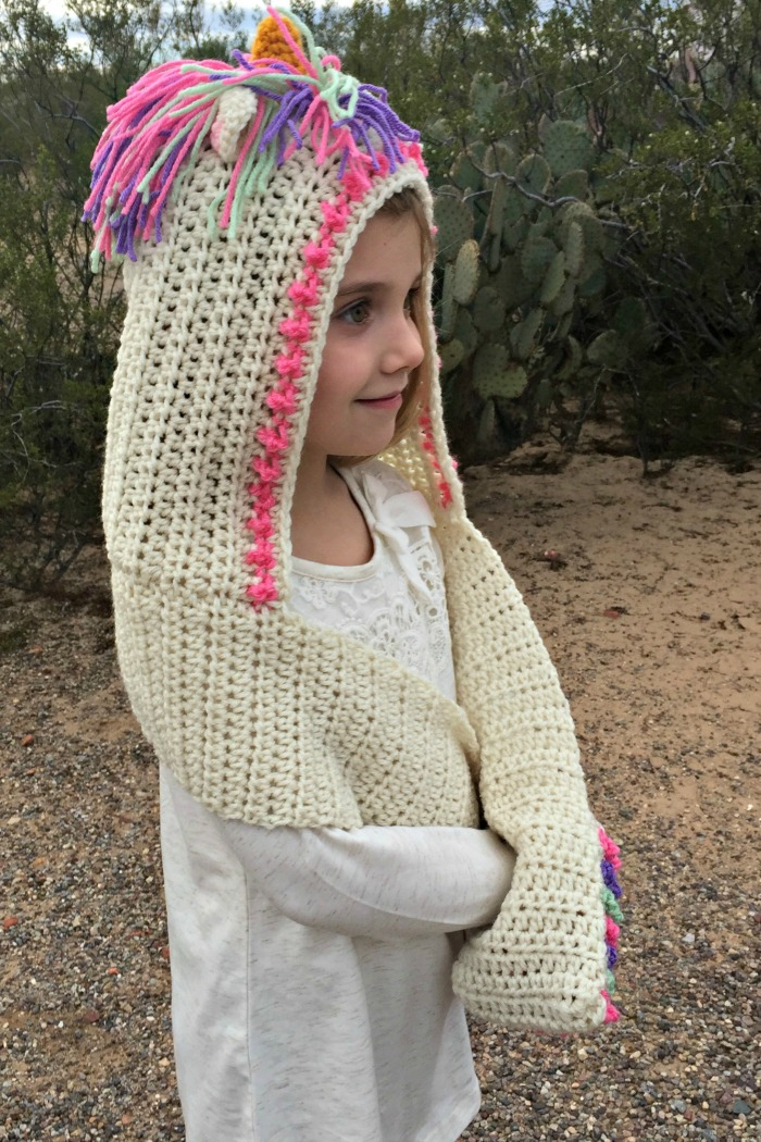 Crochet Unicorn Hooded Scarf Pattern : Unicorn Hooded Scarf with Pockets Crochet Pattern