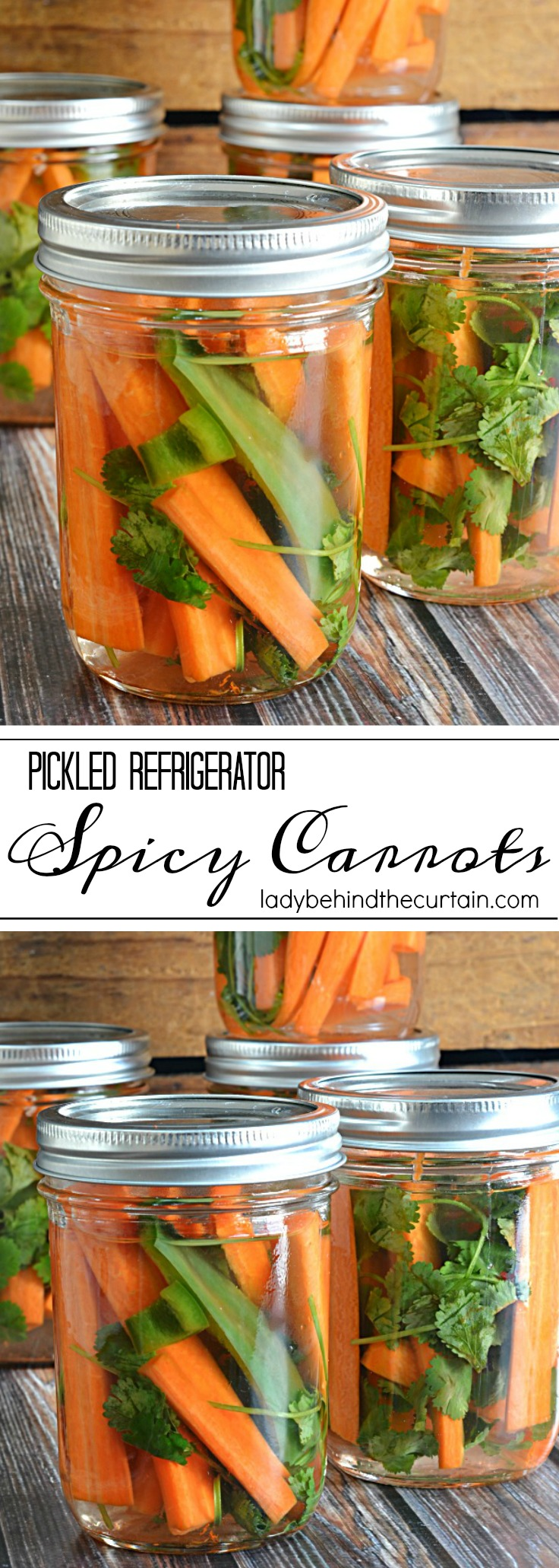 Pickled Refrigerator Spicy Carrots | easy recipe, picnic recipe, hostess gift idea, side dish