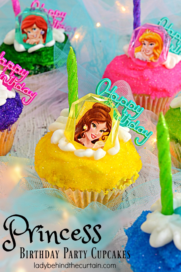 Princess Birthday Party Cupcakes | Any little girl would be excited to have these colorful Princess Birthday Party Cupcakes at their birthday party.