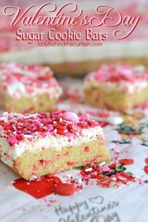 Valentine's Day Sugar Cookie Bars| kids party treats, valentine's day kids party, easy recipe, sugar cookie recipe