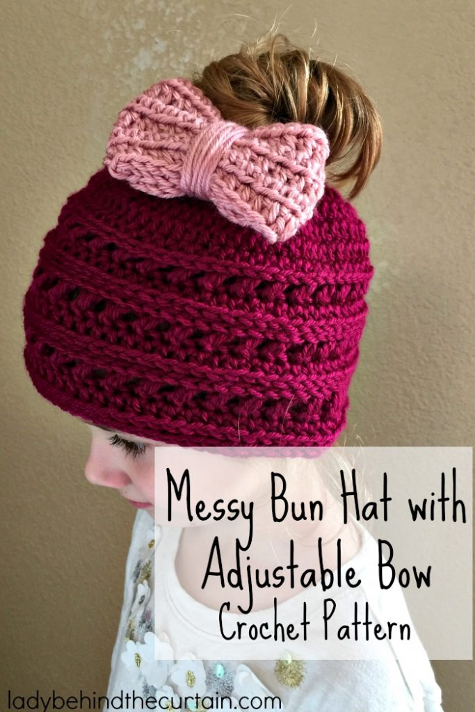 Messy Bun Hat with Adjustable Bow Crochet Pattern   easy crochet pattern, winter hat, messy bun fun