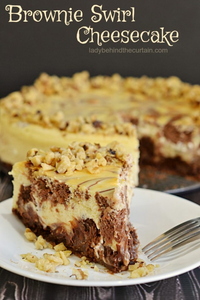 Brownie Swirl Cheesecake  chocolate desset, cheesecake, valentine's day dessert, brownie cheesecake recipe