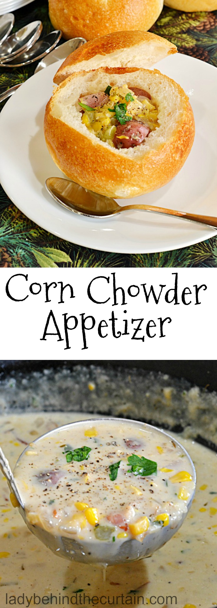 Corn Chowder Appetizer| baby shower appetizer, bridal shower appetizer, wedding reception appetizer, holiday appetizer, soup