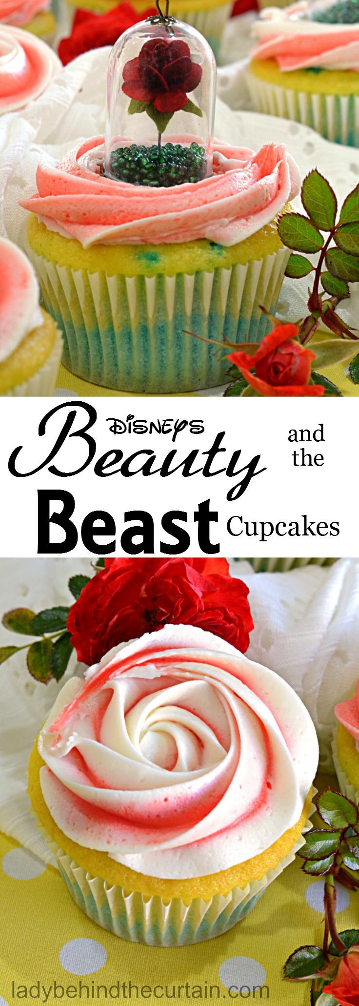 Disney's Beauty and the Beast Cupcakes | little girls birthday party cupcakes, rose cupcakes, disney cupcakes, disney movie cupcakes, blueberry lemonade cupcakes