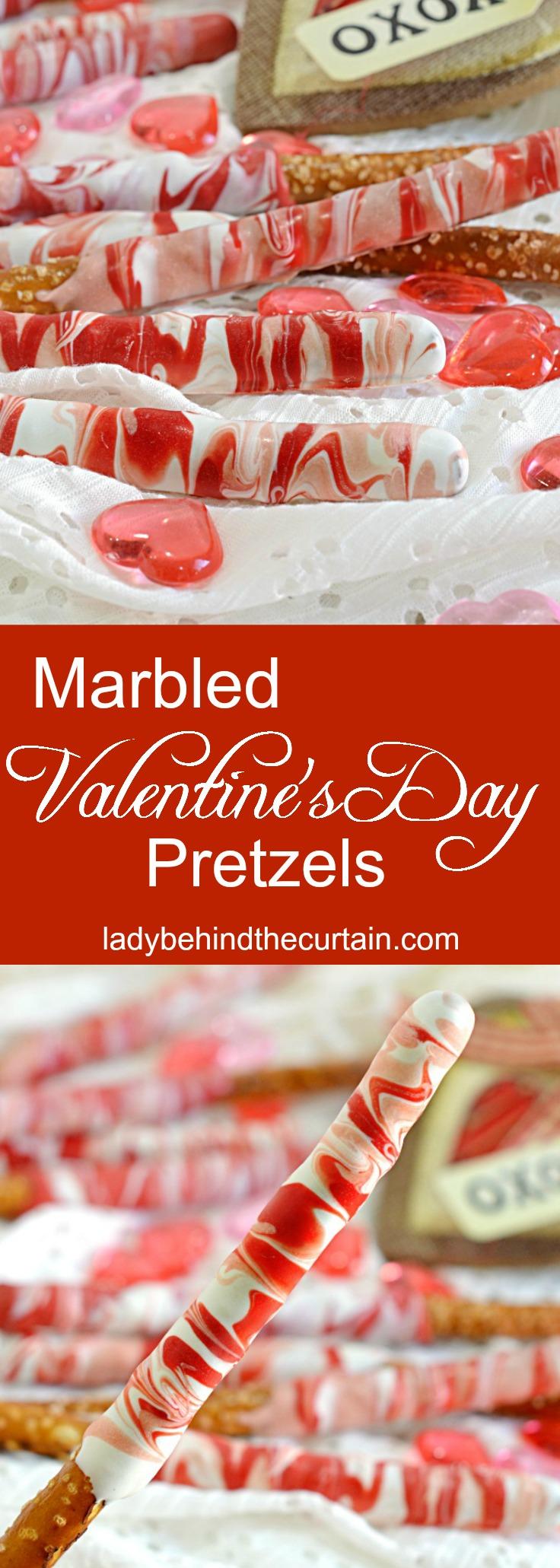 Marbled Valentine's Day Pretzels| decorated pretzels, valentine's day pretzels, marble pretzels, valentine's day dessert