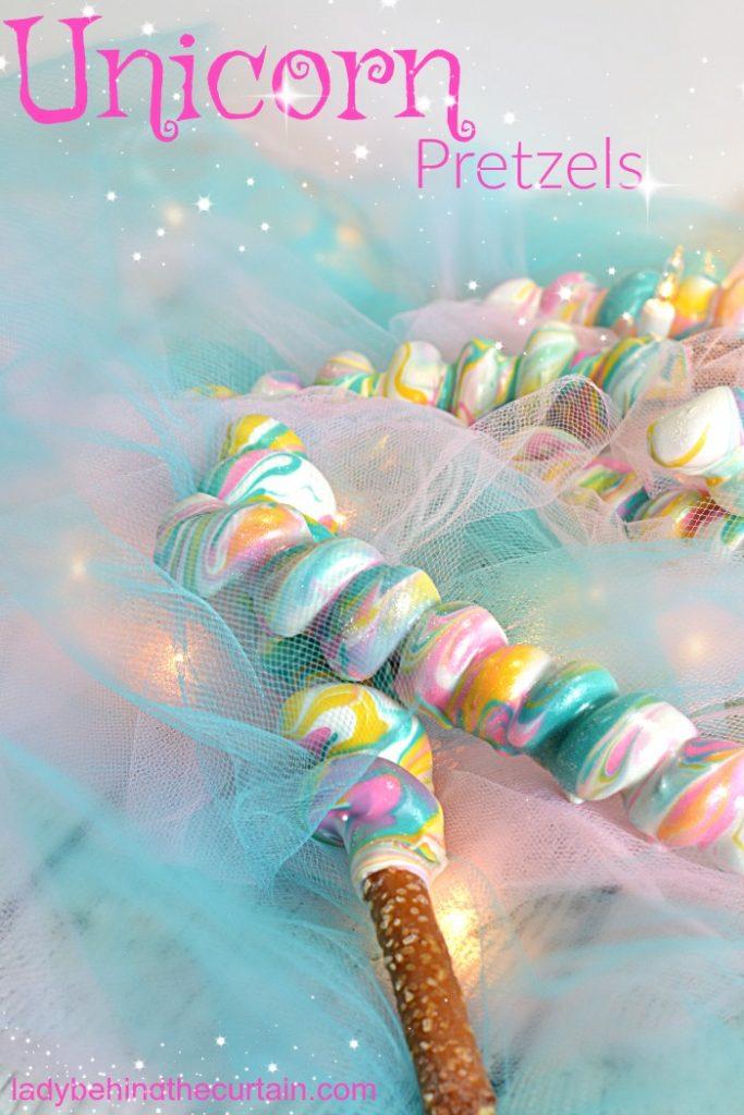 Unicorn Pretzels   unicorn birthday party, little girls birthday party dessert, decorated pretzels, unicorn party favor