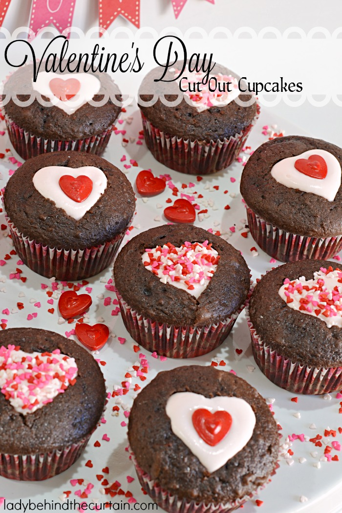 Valentine's Day Cut Out Cupcakes | Valentine's Day party cupcakes, easy cupcake recipe, chocolate, cupakes, Valentine's Day Dessert