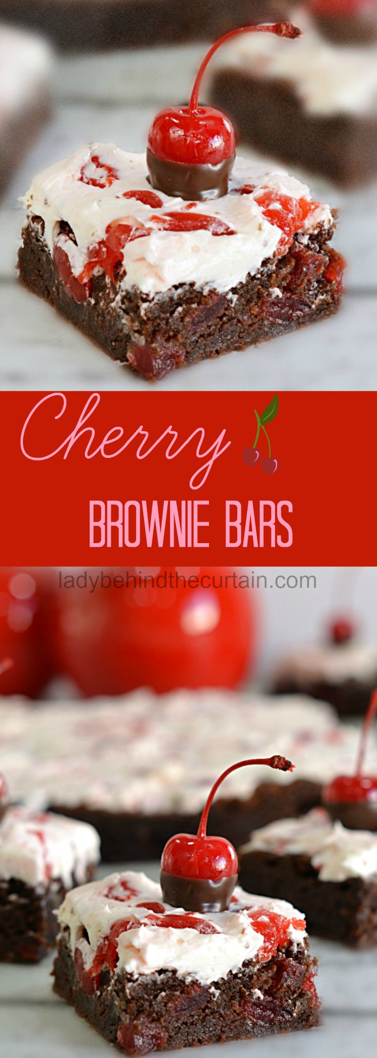 Cherry Brownie Bars | Potluck Brownies, easy brownie recipe, cherry covered chocolate
