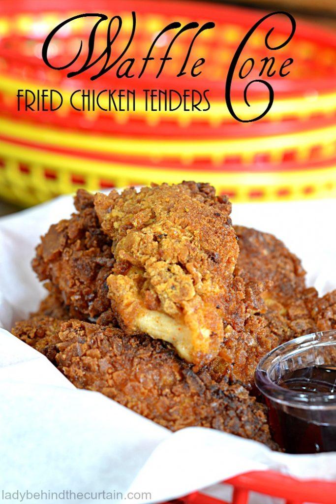 Waffle Cone Fried Chicken Tenders   carnival party food, fair party food, waffles, fried chicken recipe, easy summer recipe