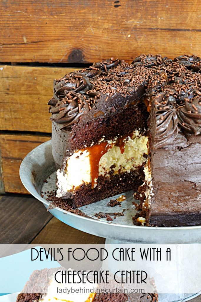 Devil's Food Cake with a Cheesecake Center | Chocolate Cake, Cheesecake, Easy Recipe, Easy Dessert Recipe