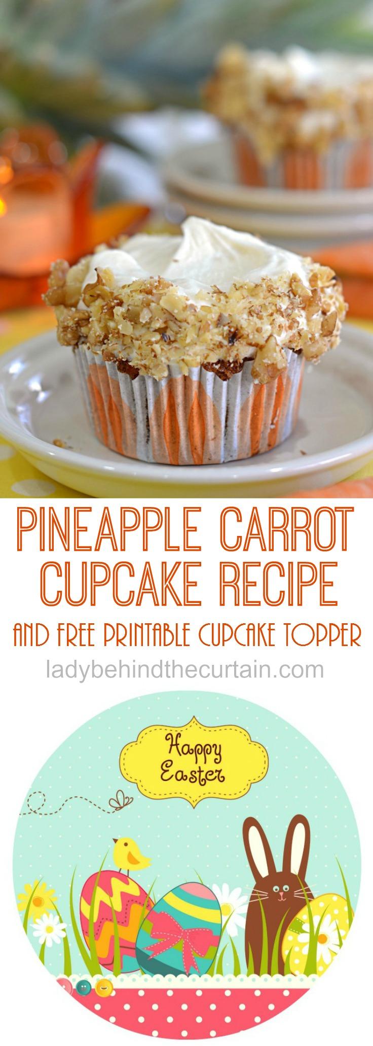 Pineapple Carrot Cupcakes | Easter Brunch Recipe, Carrot Cake Recipe, Easy Recipe, Cupcakes
