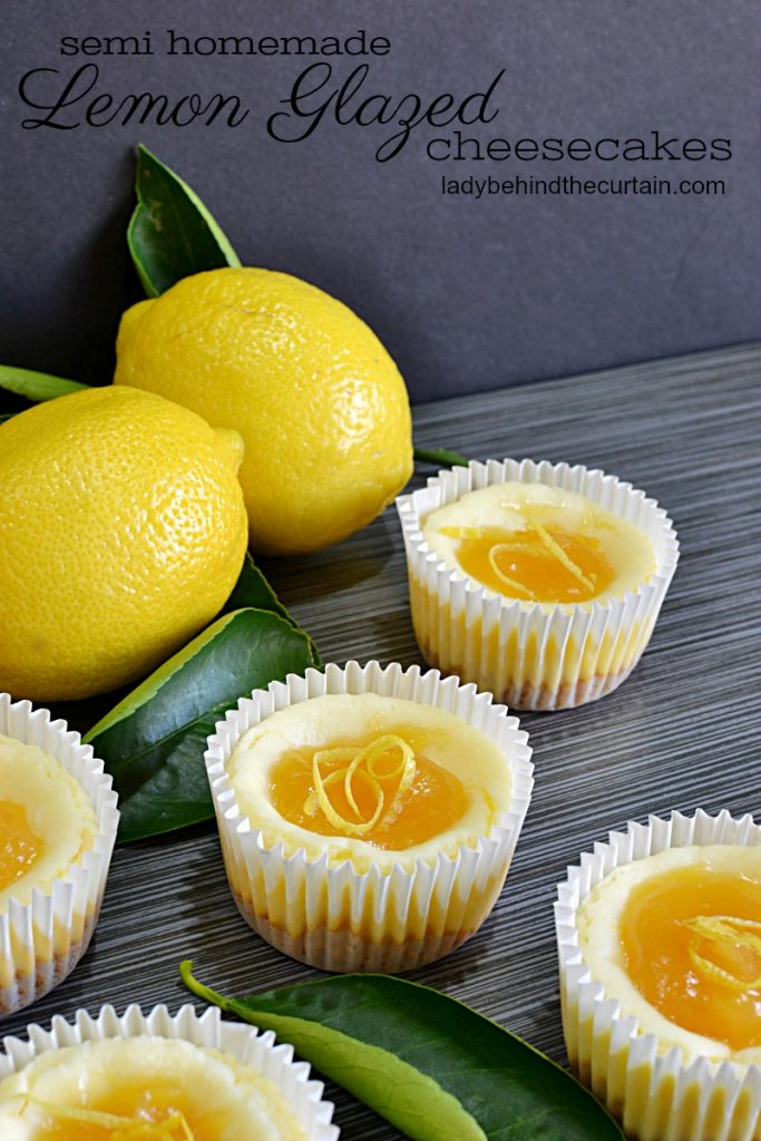 Semi Homemade Mini Lemon Glazed Cheesecakes