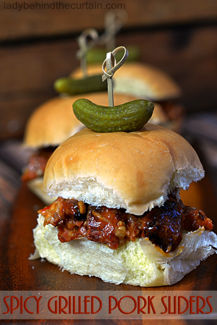 Spicy Grilled Pork Sliders   game day food, pork appetizer, smoked pork, barbecue sauce recipe