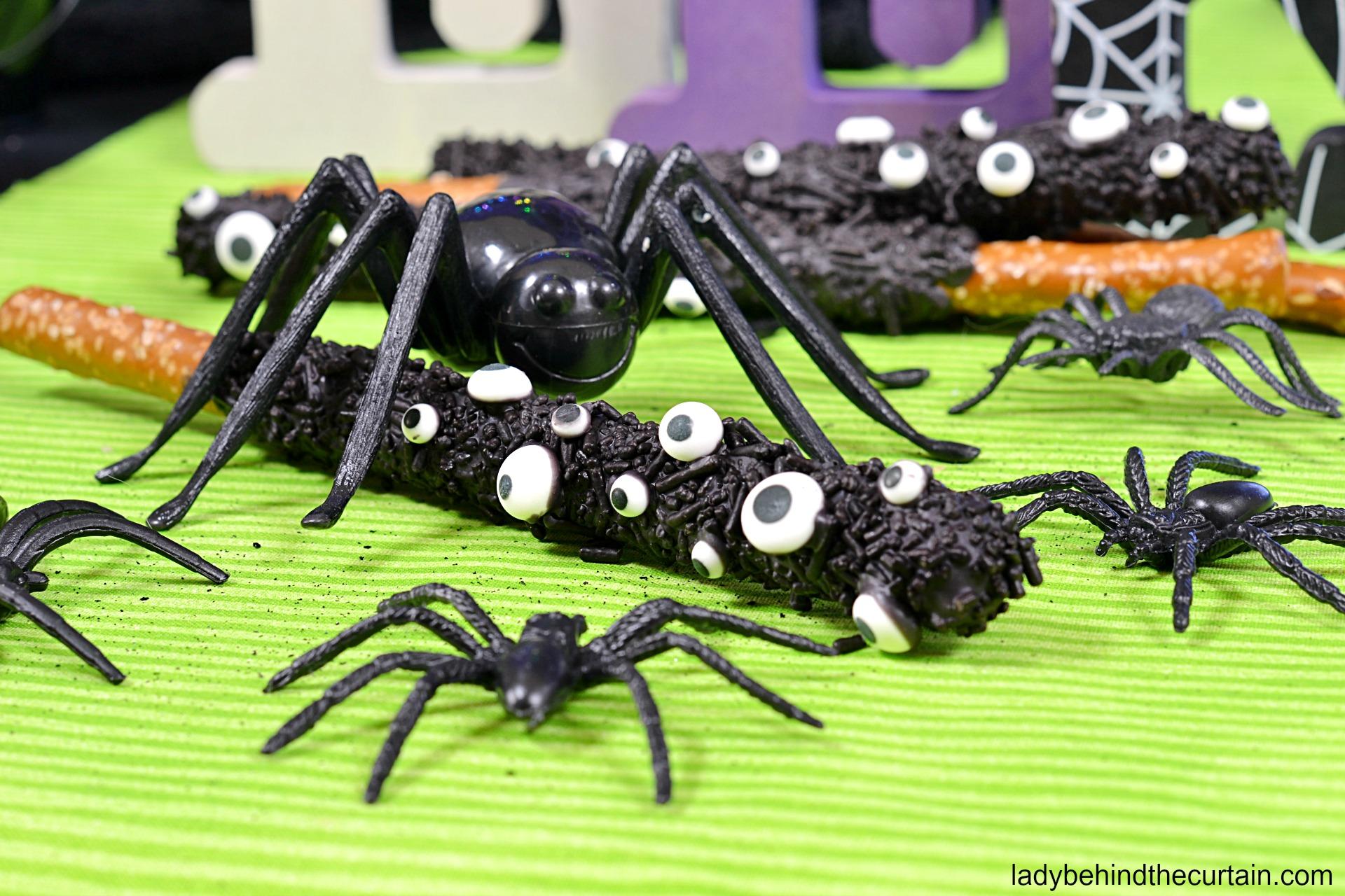 Halloween Spider Pretzels