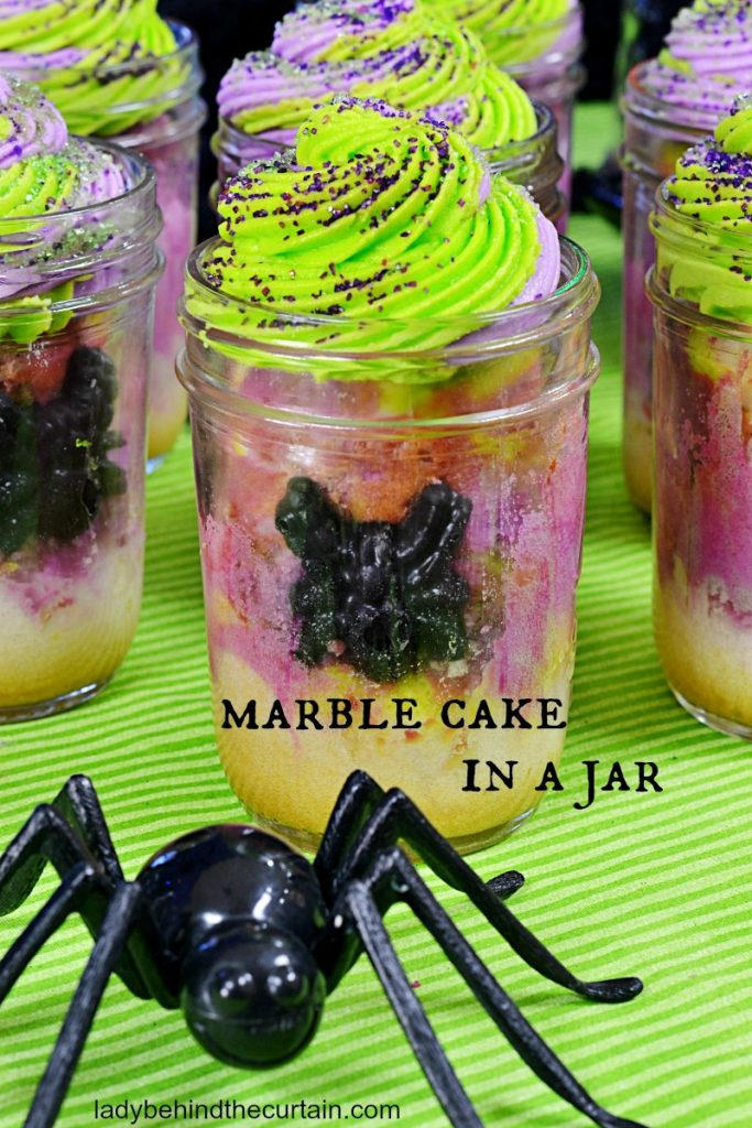 Halloween Marble Cake in a Jar