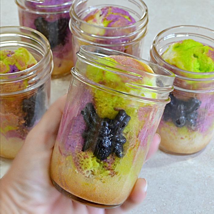 Halloween Marble Cake in a Jar