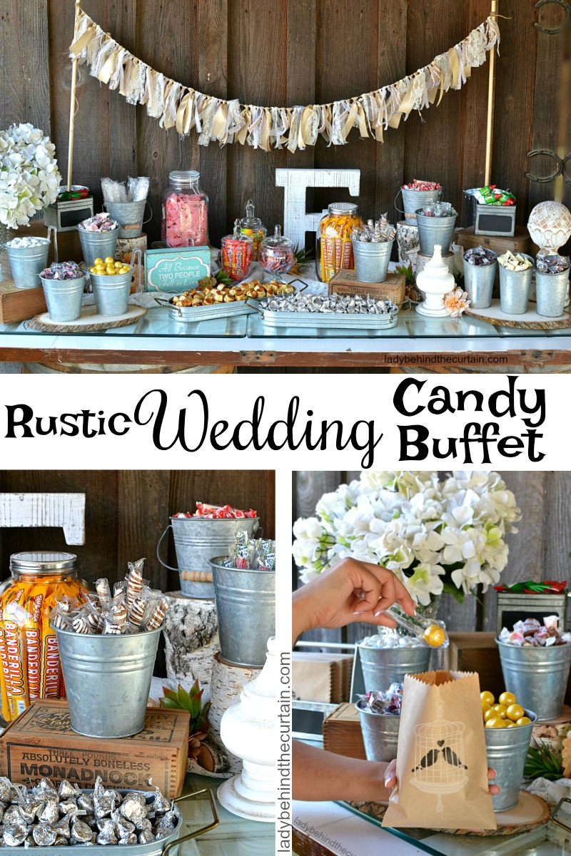 rustic wedding candy buffet rh ladybehindthecurtain com  inexpensive wedding candy buffet