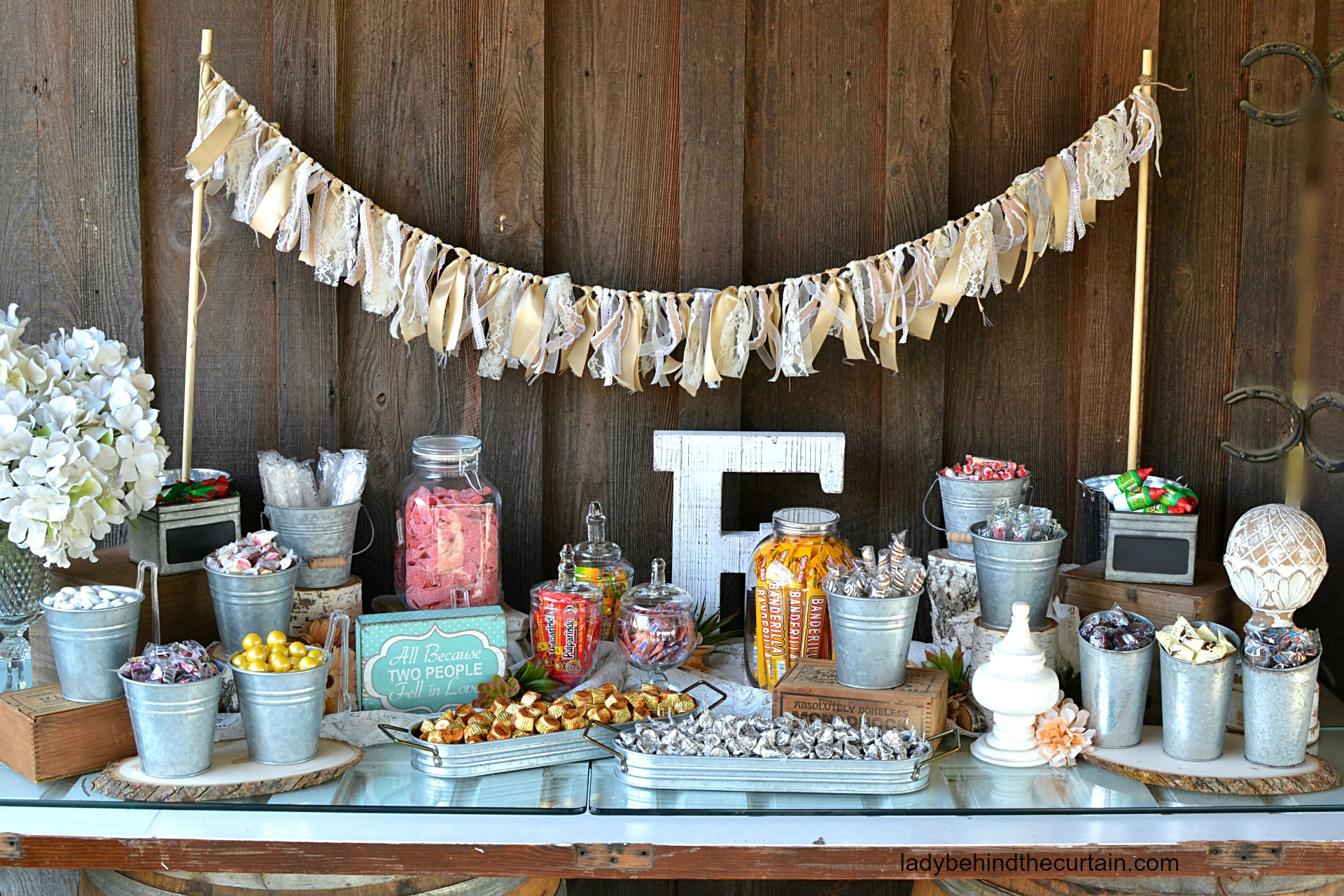 rustic wedding candy buffet rh ladybehindthecurtain com