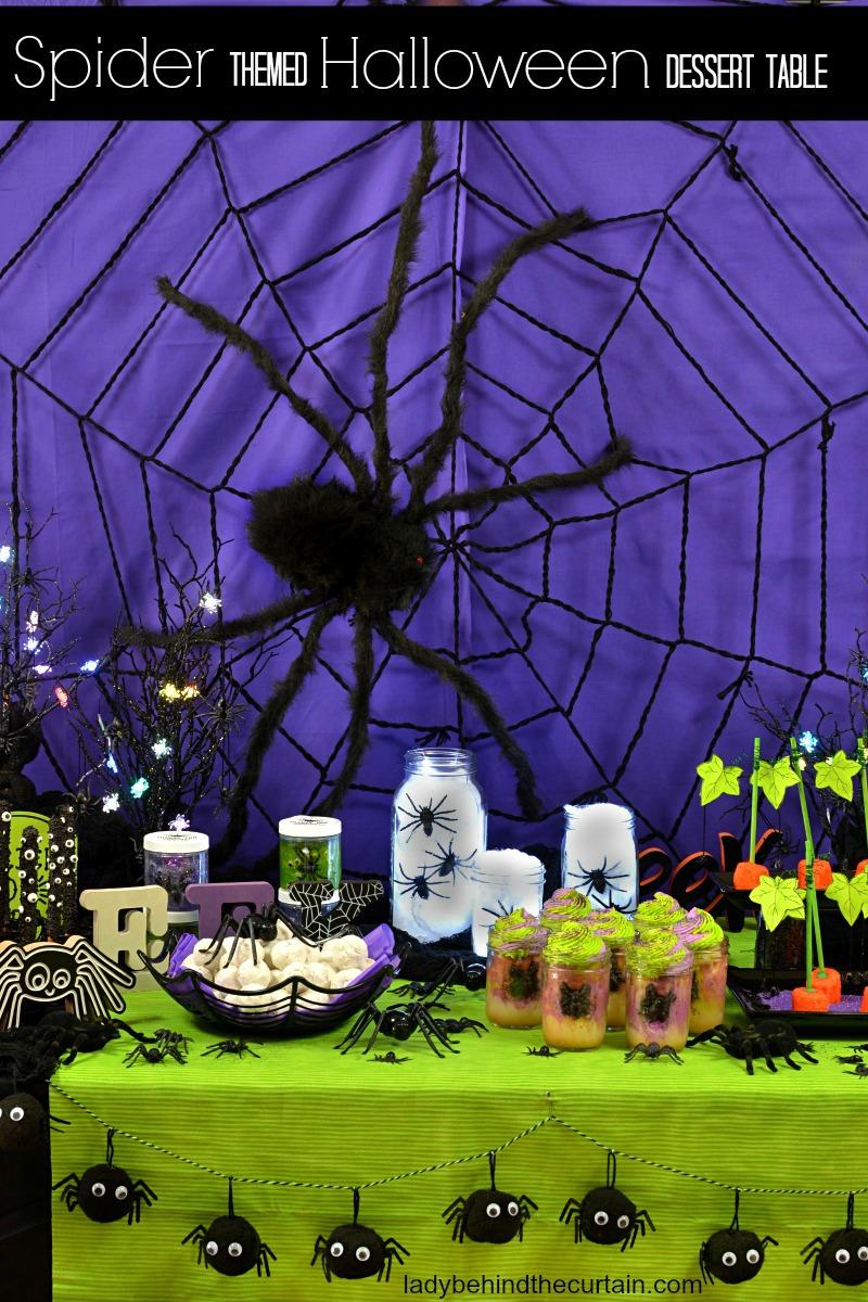 Spider Themed Halloween Dessert Table