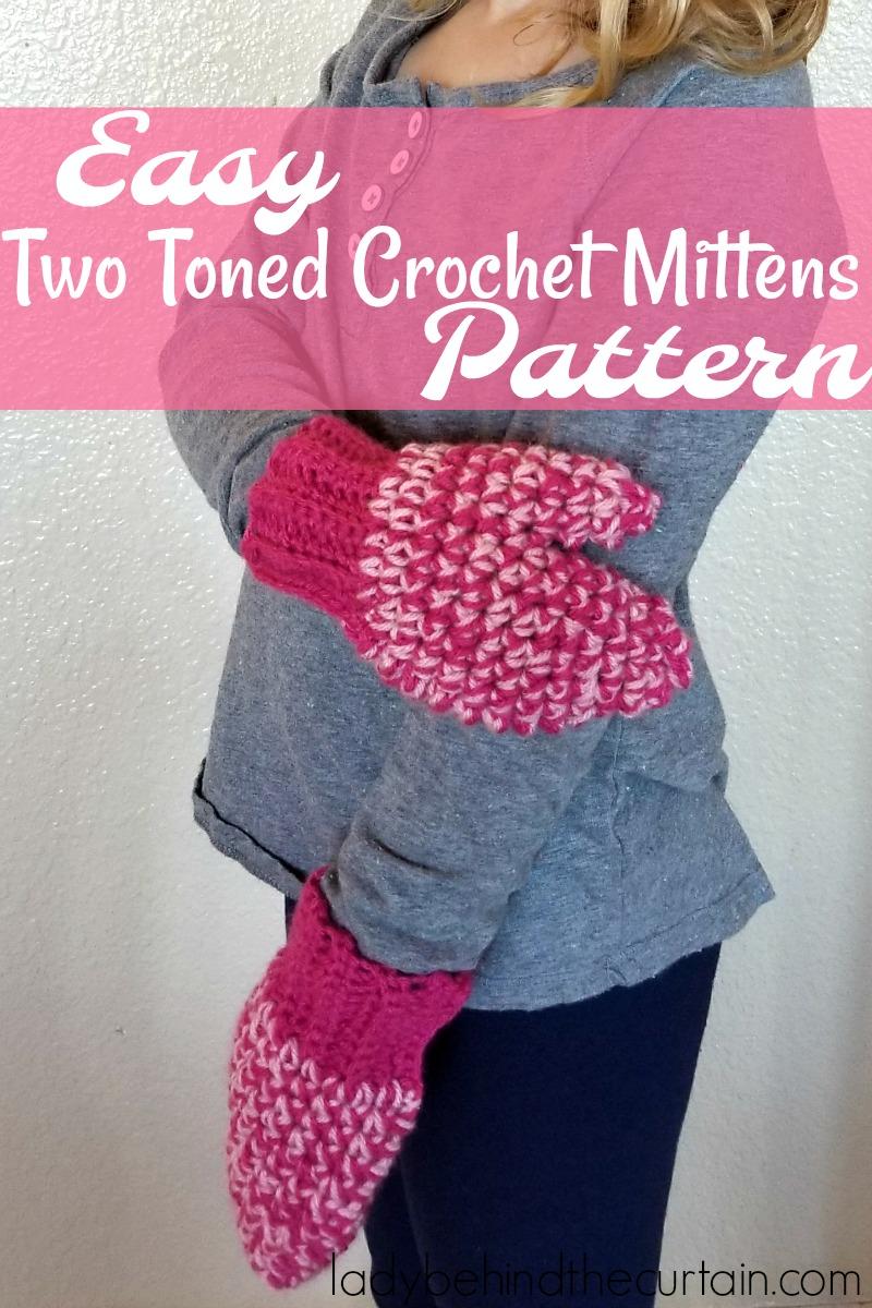 Easy Two Toned Crochet Mittens Pattern