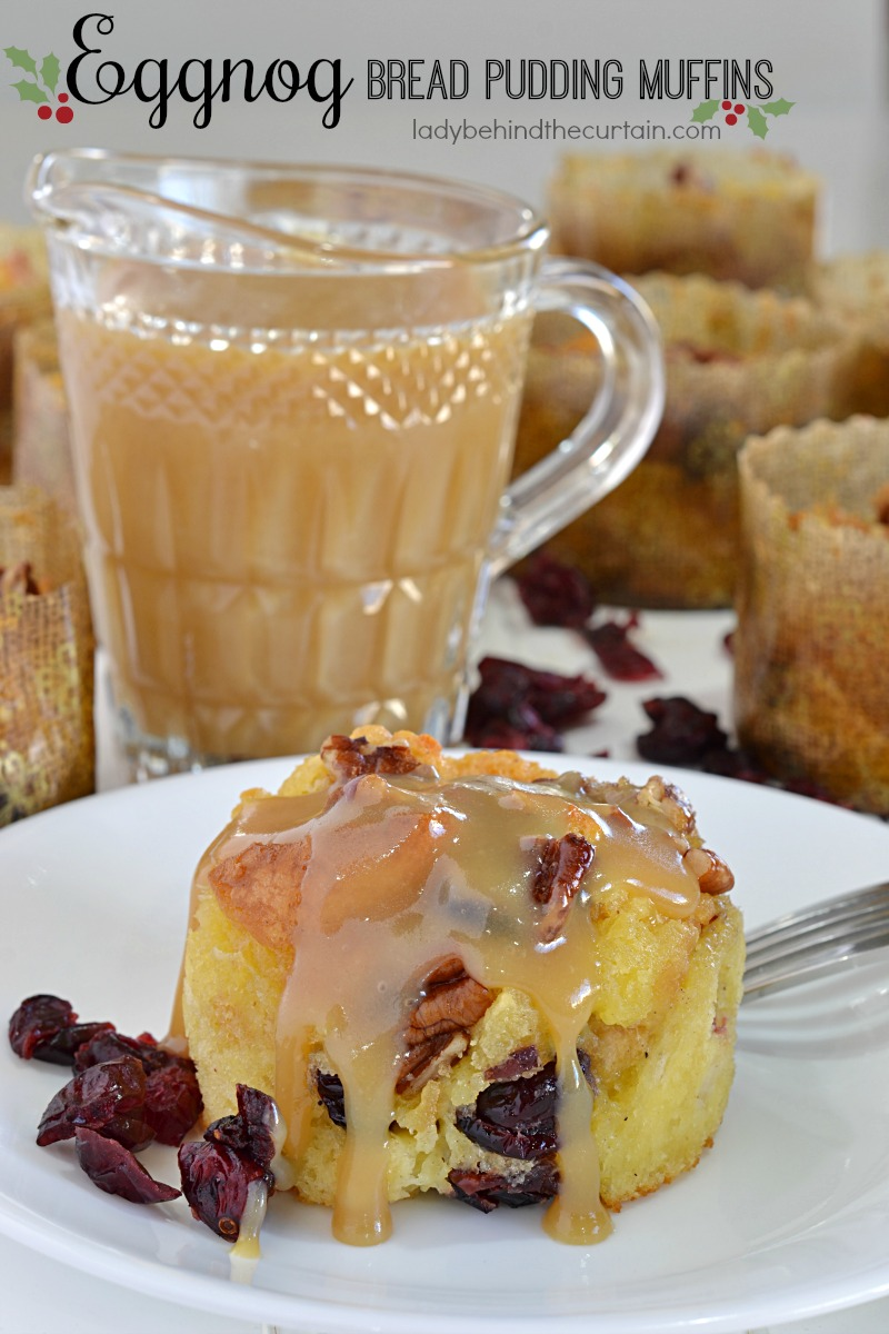 Eggnog Bread Pudding Muffins