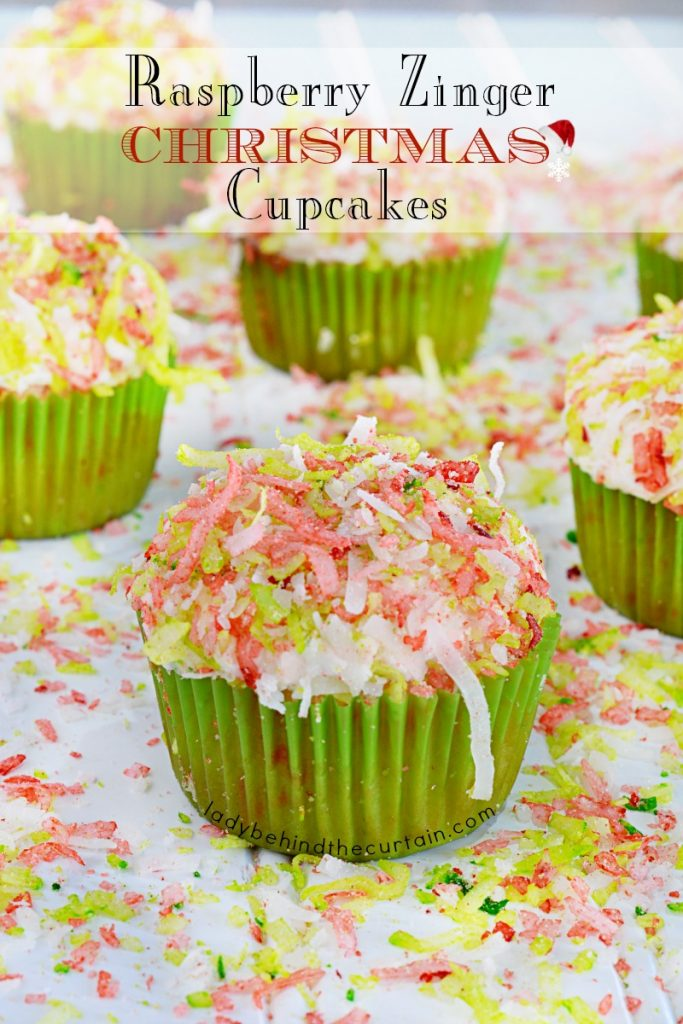 Raspberry Zinger Christmas Cupcakes