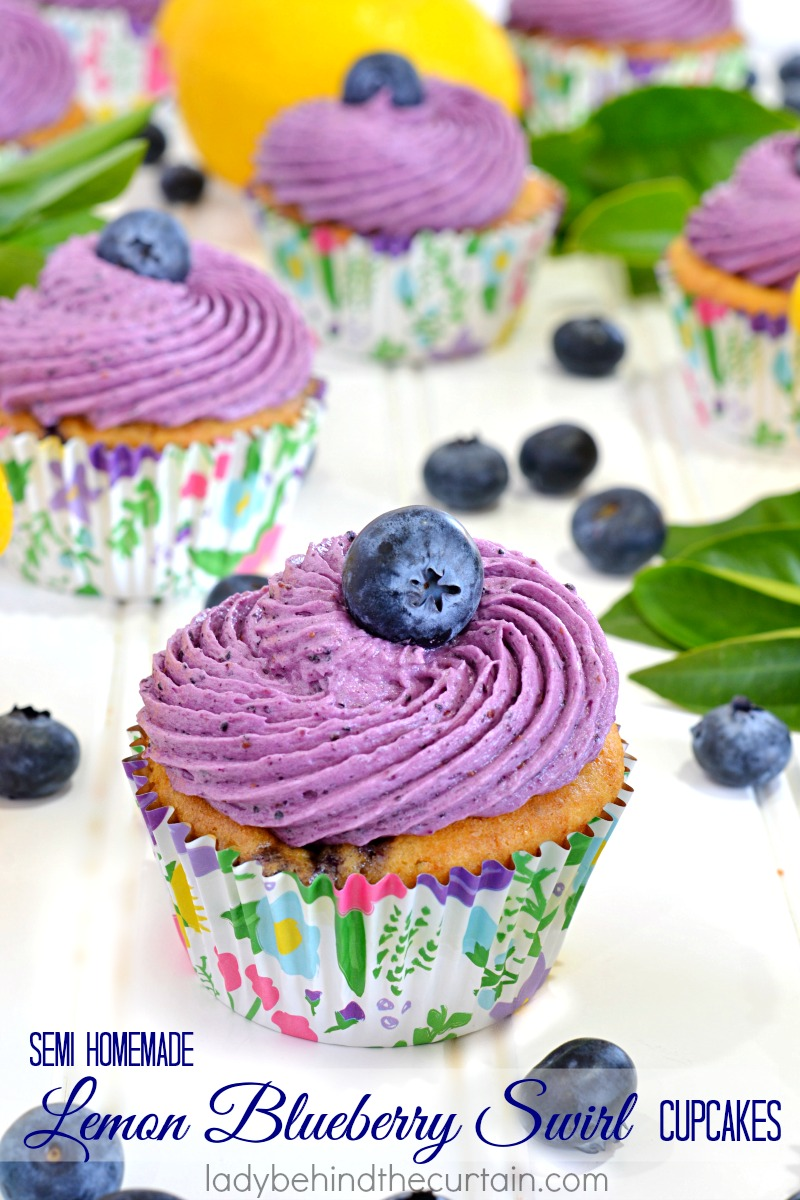 Semi Homemade Lemon Blueberry Swirl Cupcakes