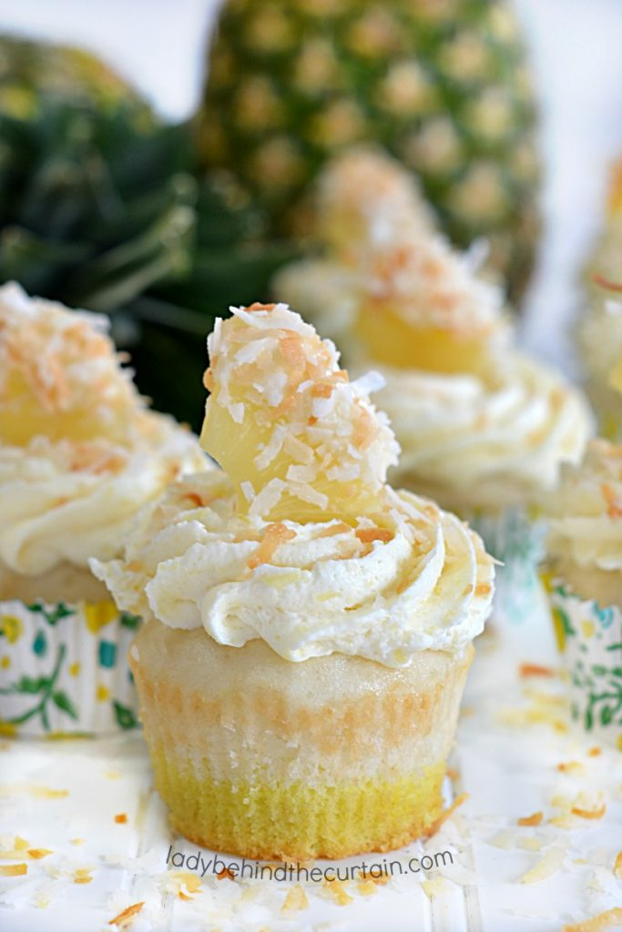 Semi Homemade Tropical Pineapple Coconut Cupcake Recipe