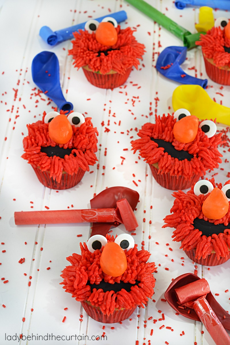 Elmo Vanilla Birthday Party Cupcakes