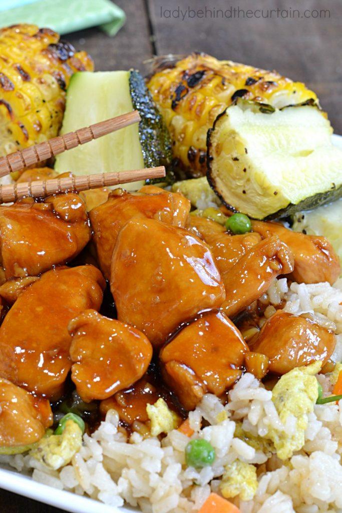 Spicy Asian Bourbon Chicken Dinner Recipe
