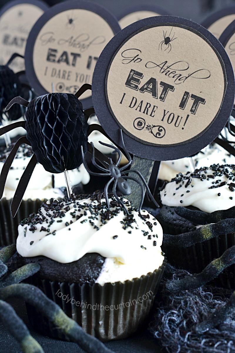 Semi Homemade Black and White Halloween Cupcakes
