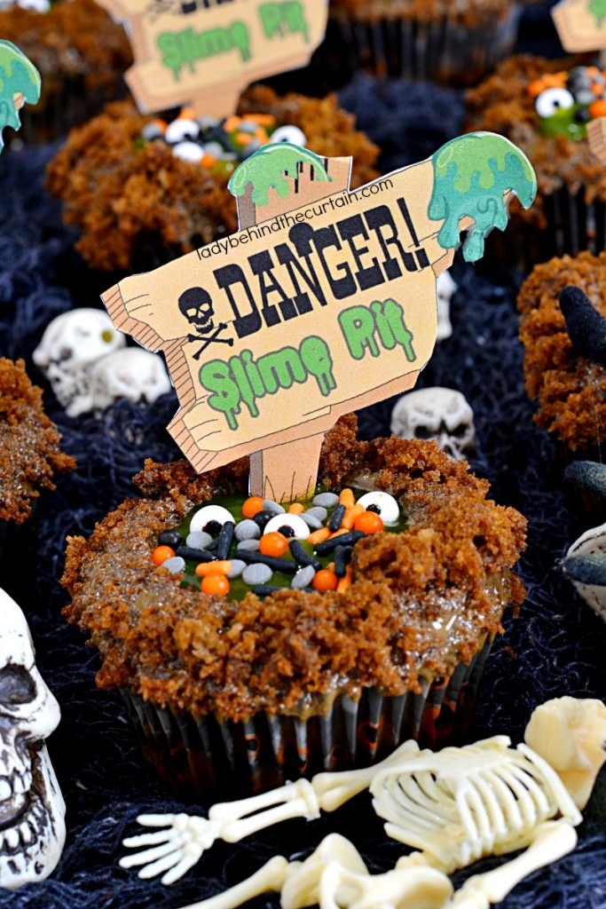 Semi Homemade Slime Pit Halloween Cupcakes