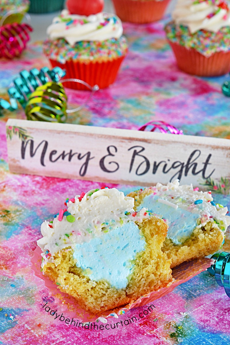 Merry and Bright Marshmallow Filled Christmas Cupcakes