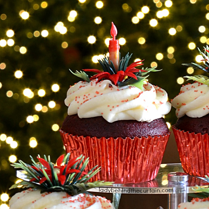 Red Velvet Cupcakes with Eggnog Butter Frosting