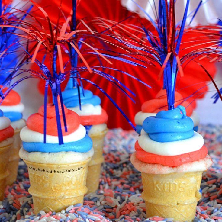 Almond Cherry Mini Cone Cupcakes