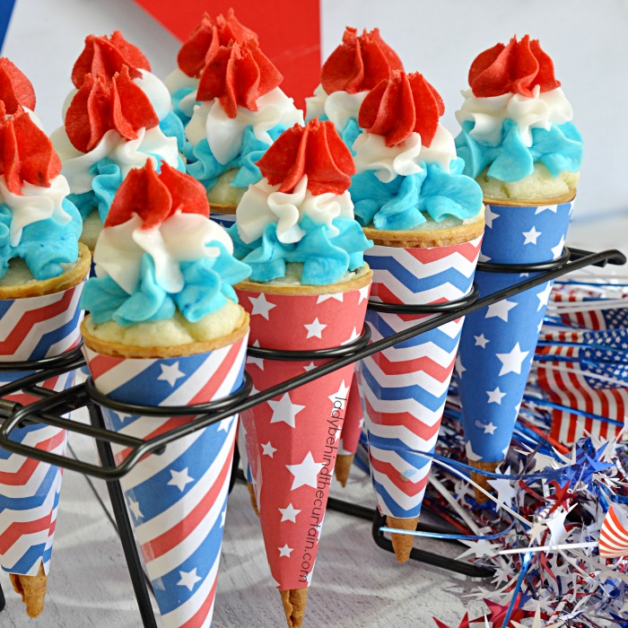 Bomb Pop Ice Cream Cone Cupcakes