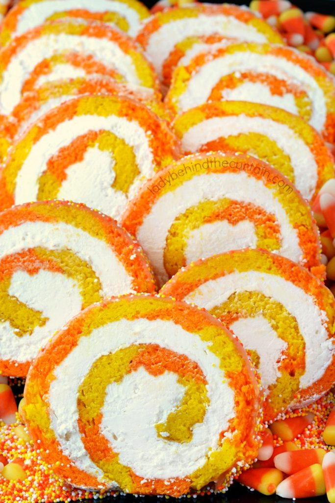 Candy Corn Vanilla Swiss Cake Roll